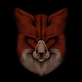 tee shirt fox design art noir