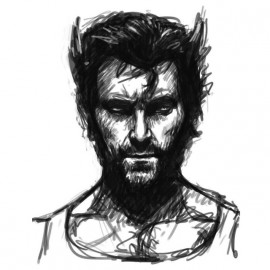 Wolverine sketch white shirt