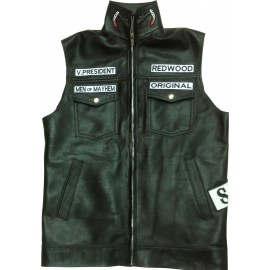 veste sons of anarchy cuir  et patchs brodés