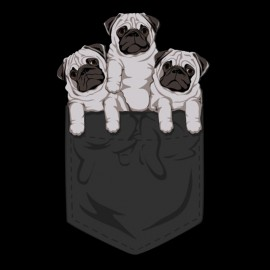 shirt pocket black pug