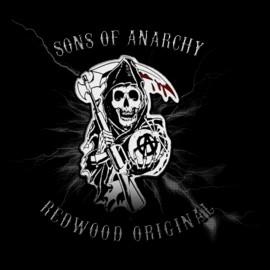 hijos de la anarquía de la camiseta del logotipo negro