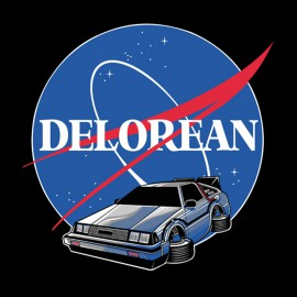 black tee shirt Delorean