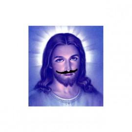 tee shirt jesus moustache blanc