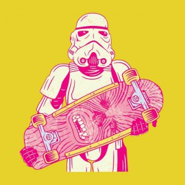 skateboard yellow shirt stormtrooper