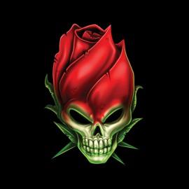 tee shirt rose skull noir