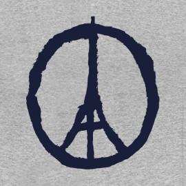 paris tee shirt peace and love gray