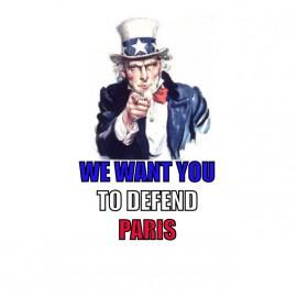 camiseta queremos que para defender París blanco