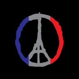 negro de la camiseta de Paz de París rezar