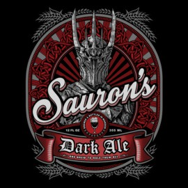 tee shirt bière sauron seigneur des anneaux noir