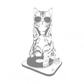 tee shirt dj cat miaow blanc