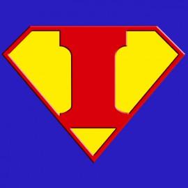 * Superman logo with a royal blue I