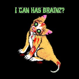 t-shirt cat zombie brains