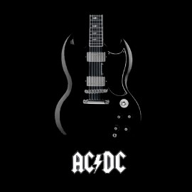 tee shirt acdc guitare groupe