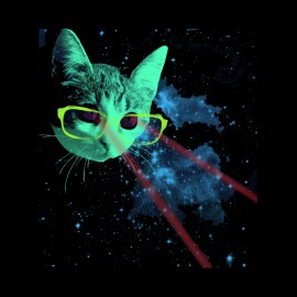 t-shirt cat of the space laser beams