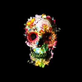 tee shirt squelette flowers