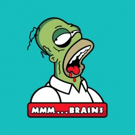 tee shirt homer simpson en zombi mr brain
