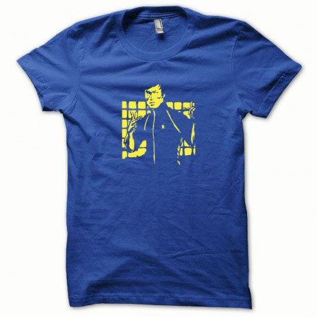 Tee shirt Bruce Lee jaune/bleu royal
