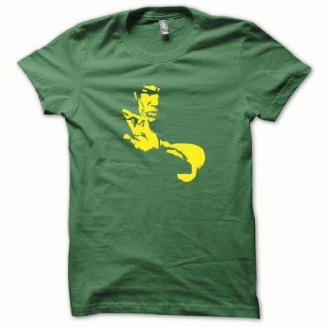 Tee shirt Bruce Lee jaune/vert bouteille