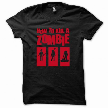 Tee shirt How to kill a zombie rouge/noir