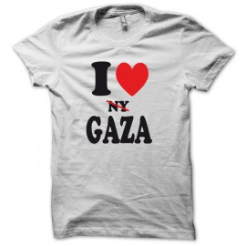 Tee shirt I love gaza ny barré version basic blanc