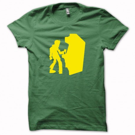 Tee shirt gamer zombie arcade jaune/vert bouteille