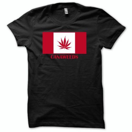 Tee shirt drapeau canada cannabis canaweed vert/noir