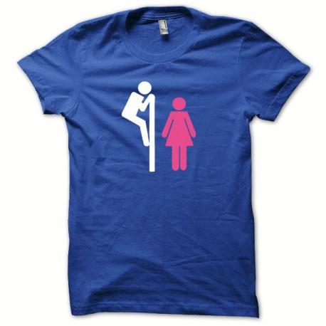 Tee shirt Voyeur toilette blanc/bleu royal