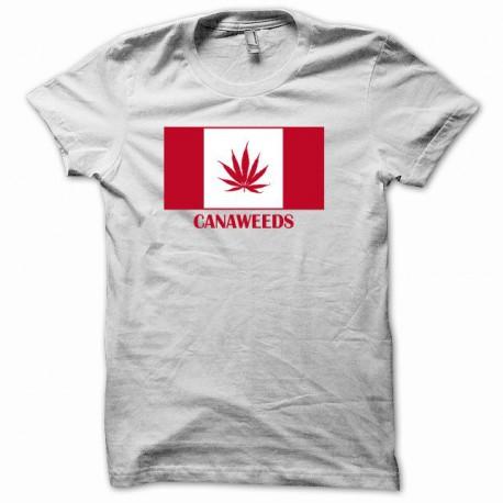 Tee shirt drapeau canada cannabis canaweed blanc