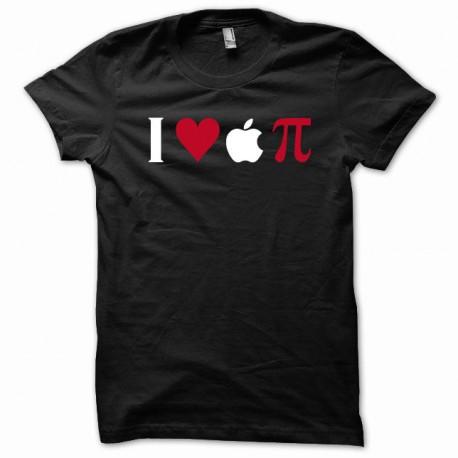 Tee shirt I love apple Pi noir