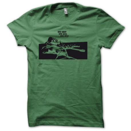Camisa francotirador uno tiró una matanza una milla al negro / verde botella