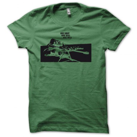 Tee shirt Sniper One shot one kill one mile noir/vert bouteille
