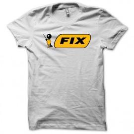 Tee shirt stylo bic parodie FIX junkie blanc