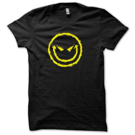 Tee shirt smiley acid core démoniaque jaune/noir
