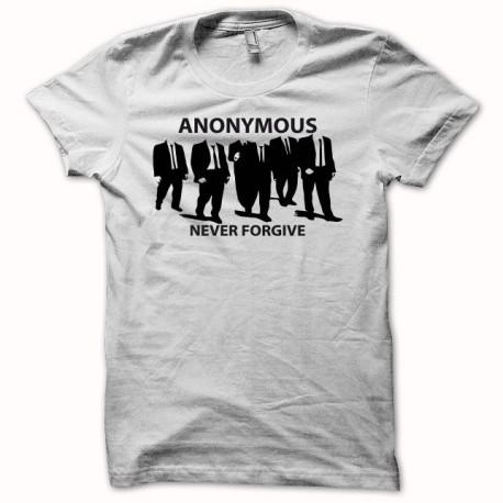Tee shirt hacktivistes Anonymous never forgive blanc
