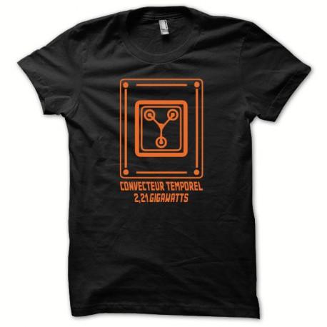 Tee shirt retour vers le futur convecteur temporel orange/noir