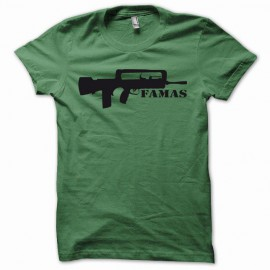 Tee shirt Famas fusil d'assaut français de l'armée noir/vert bouteille