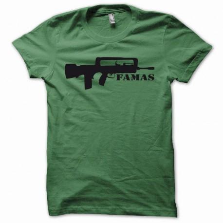 Tee shirt Famas fusil d'assaut français noir/vert bouteille
