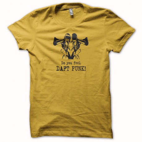 Tee shirt Do you feel Daft Punk jaune/noir