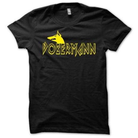 Tee shirt Dobermann jaune/noir