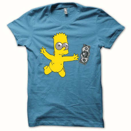 Tee shirt Bart simpson Nirvana Nevermind smell like teen spirit bleu