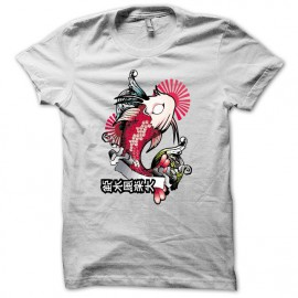 Tee shirt carpe japon tatouage poisson blanc