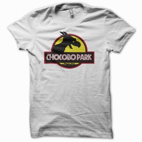 Tee shirt chocobo park parodie jurassic park blanc