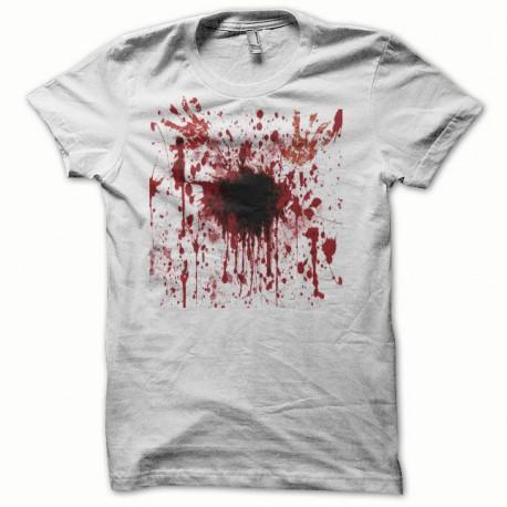Tee shirt  giclée de sang éventration blanc