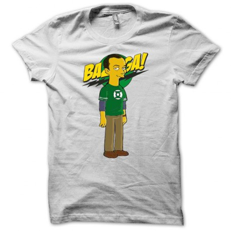 Tee shirt Sheldon cooper parodie big bang theory simpsons bazinga blanc