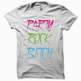 Tee shirt Party Rock Bitch LMFAO blanc