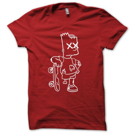 Tee shirt Bart simpson zombie rouge