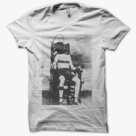 Tee shirt  chaise électrique peine de mort blanc