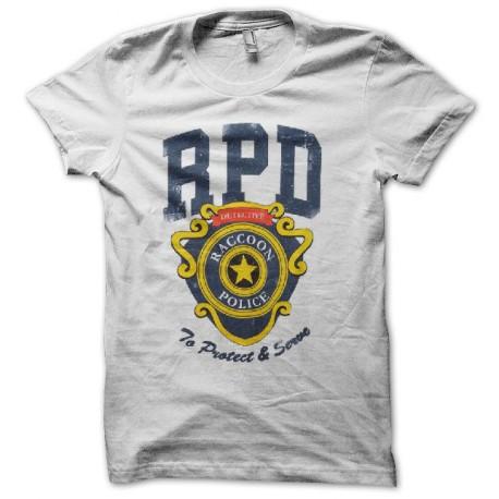 Tee shirt Raccoon Police S.T.A.R.S resident evil blanc