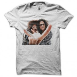T-shirt LMFAO Sky Blu and Red Foo white