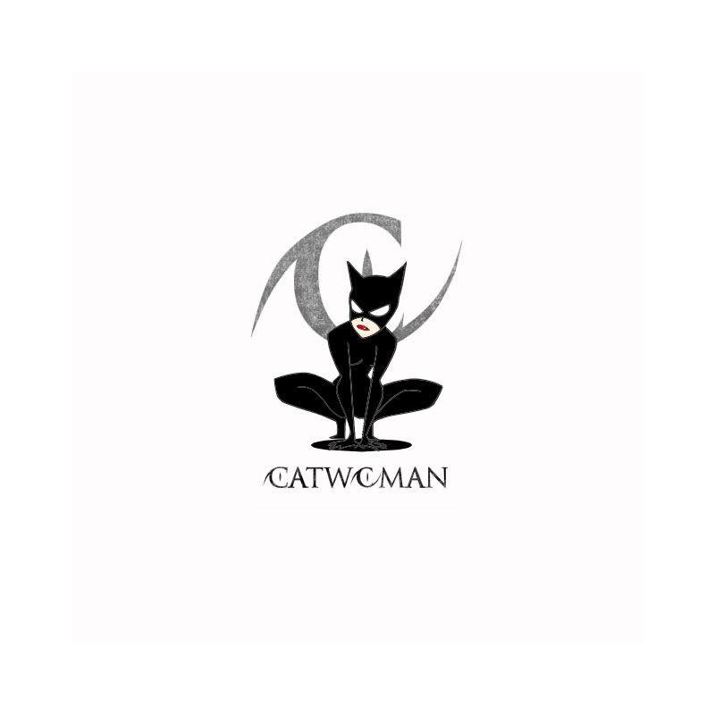 T Shirt Catwoman Grey Logo White